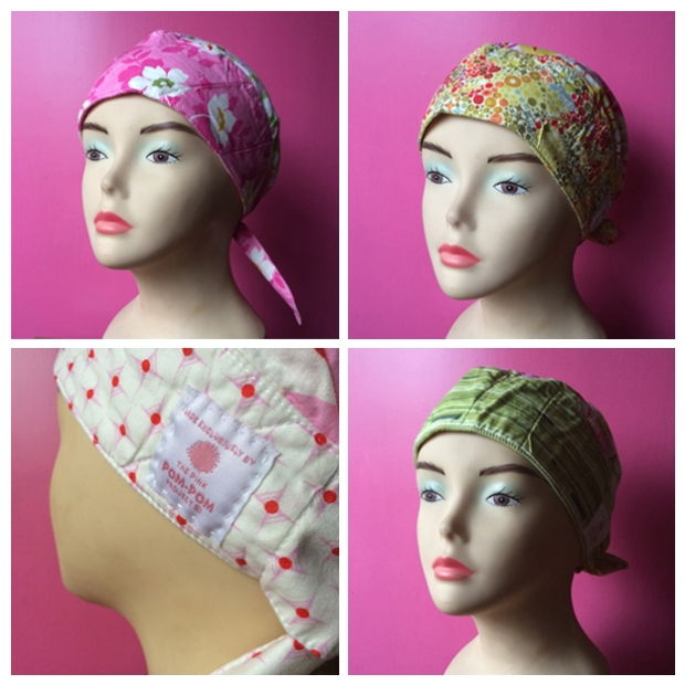 Our wig stand modeling the beautiful headscarves donated to our patients by The Pink Pom-Pom Project. Doesn't she look fabulous? Image Source: The Pink Pom-Pom Project